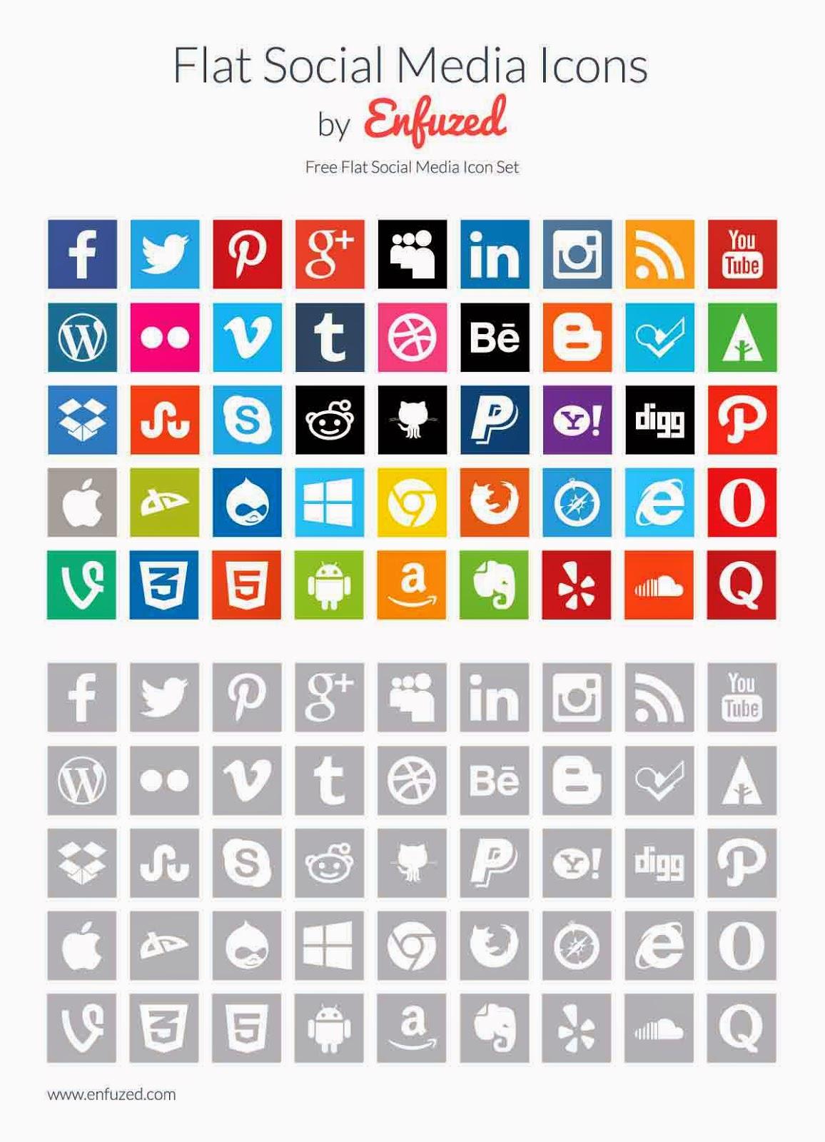 45 Flat Social Media Icons Set