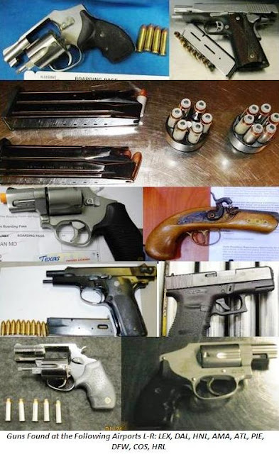 8 loaded guns and ammunition.
