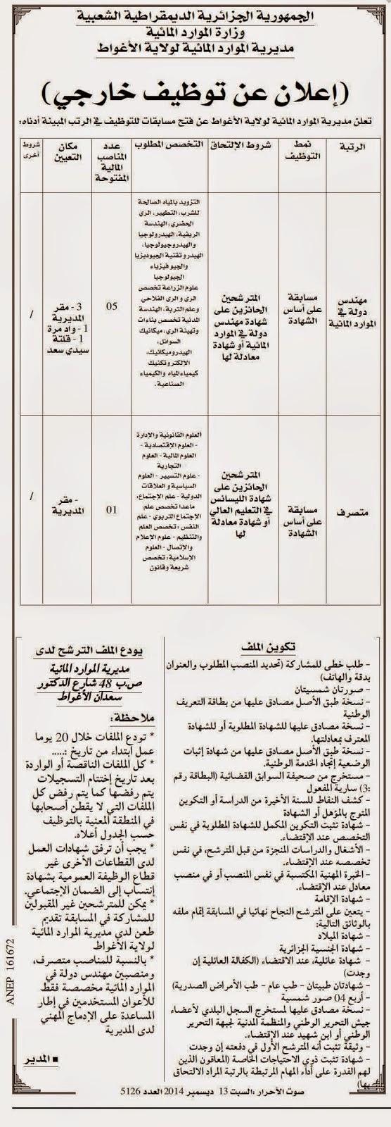 أعلان توظيف مديرية الموارد المائية لولاية الأغواط