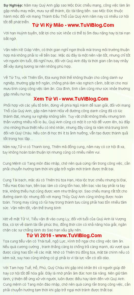Tu Vi 2016 tuoi Ky Mao Nam Mang 1999