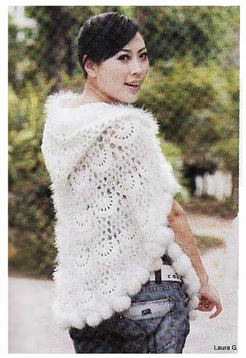 """Crocheted Poncho with Collar"" Crocheted Las' Poncho Pattern by"