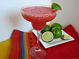 A Kicked Up Frozen Watermelon Margarita