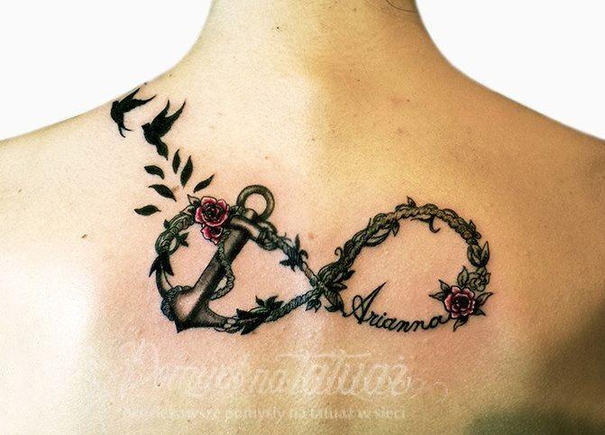 Tatuagem de Ancora e Pássaros Estilizada