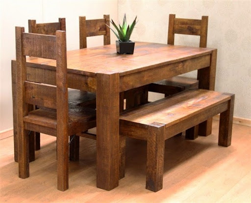 Meja makan kayu jati kuno dan antik memanjang 4kursi