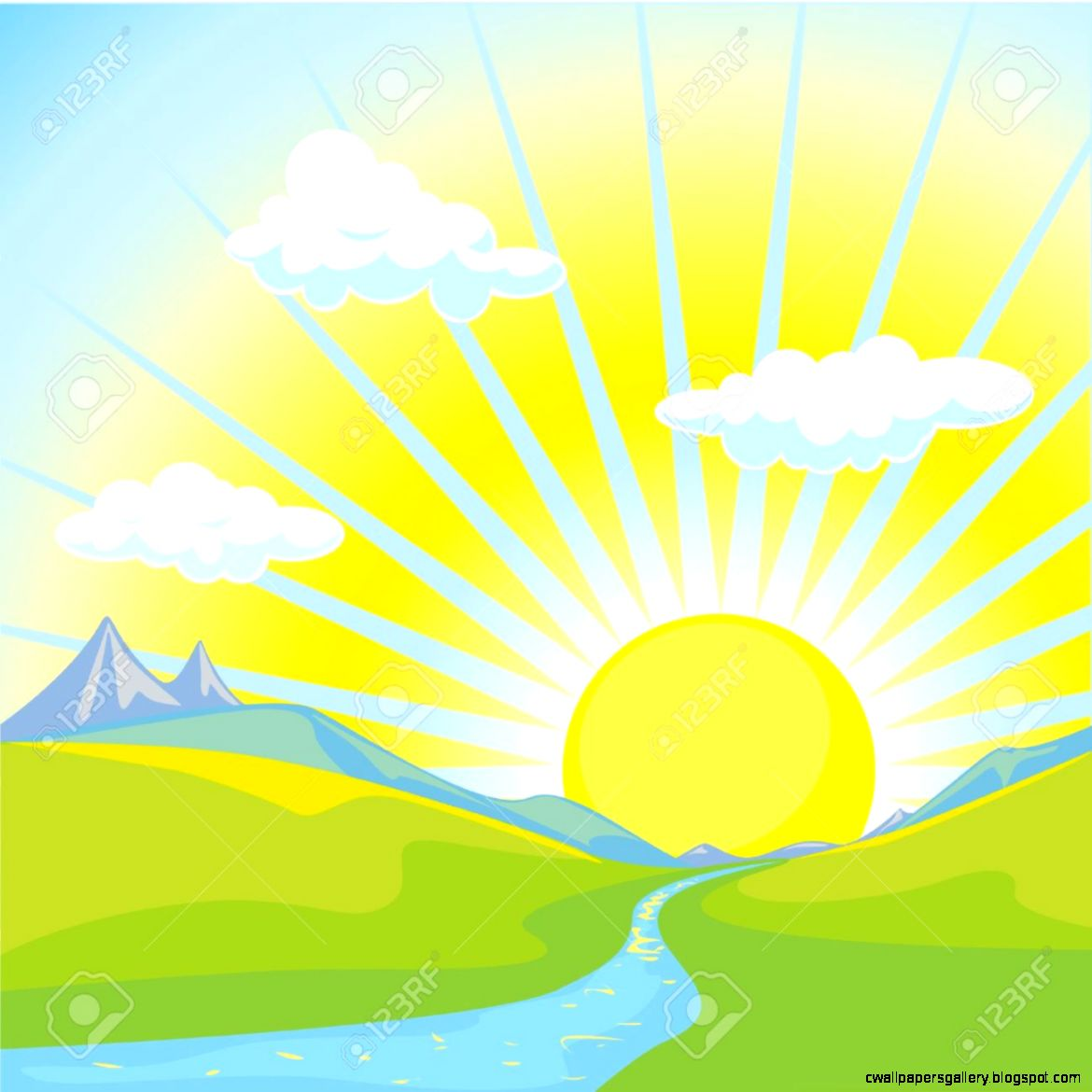Mountain Sunrise Clipart   Clipart Kid