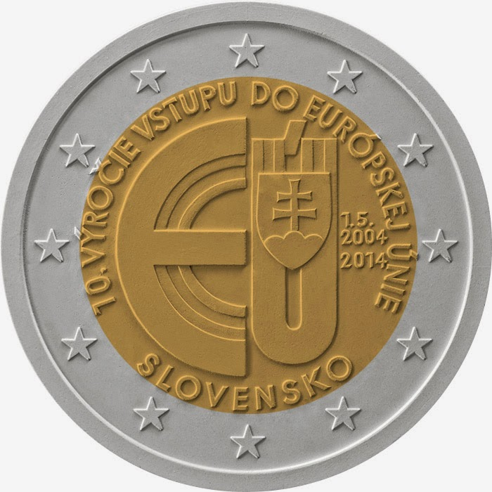 2 Euro Commemorative Coins Slovakia 2014, 10 Years of Slovakian Membership in European Union
