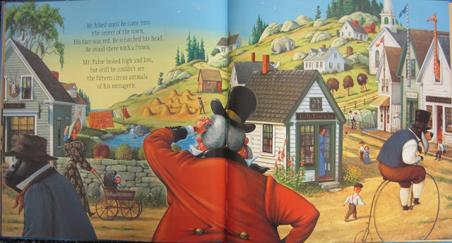 Double spread from The Circus Ship showing hidden animals and Mr. Paine