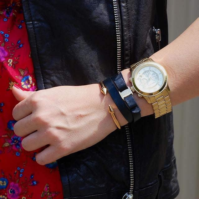 Vita Fede Titan, Salvatore Ferragamo bracelet, and Michael Kors watch