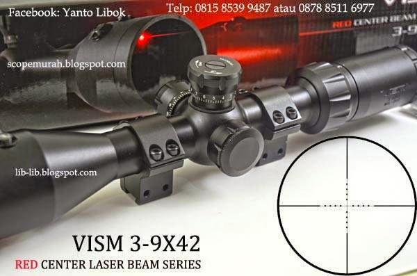 JUAL SCOPE VISM 3-9X42 RED CENTER BEAM