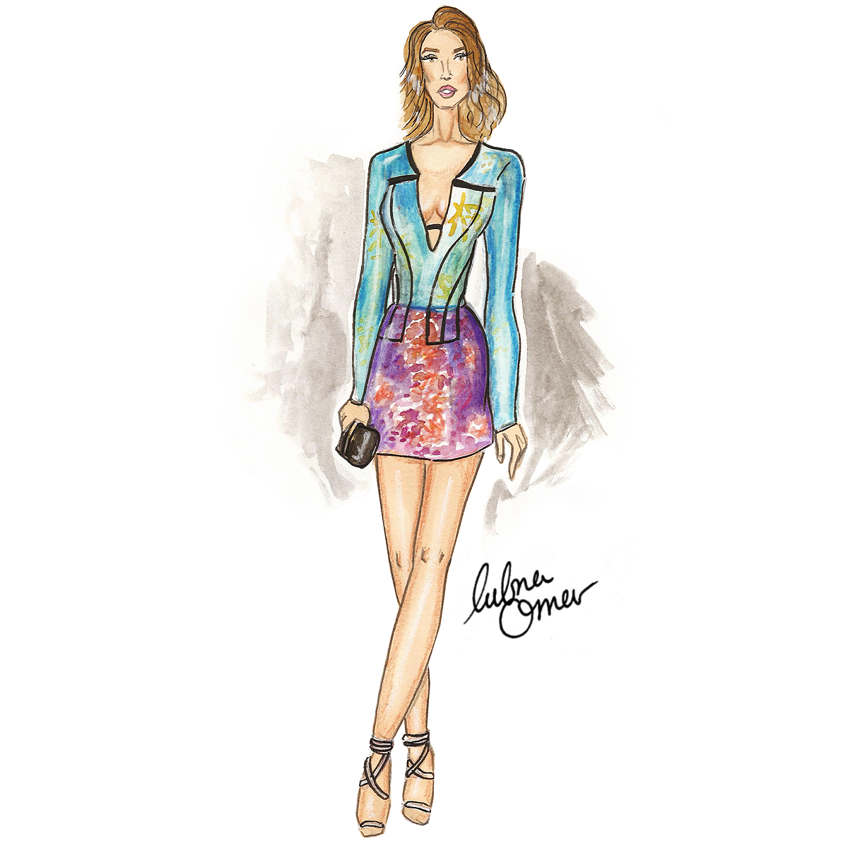 Rosie Huntington-Whiteley in Burberry illustration by Lubna Omar