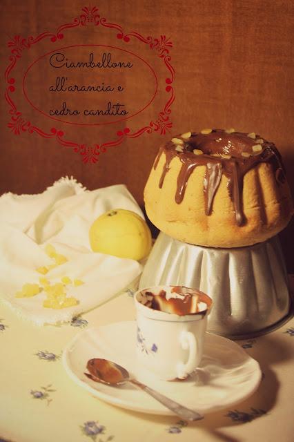 ciambellone all'arancia e cedro candito con glassa al cioccolato fondente (senza lattosio)