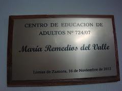 """ACTO DE IMPOSICION DEL NOMBRE """"MARIA REMEDIOS DEL VALLE"""" A LA ESCUELA Nro. 70 DE ADULTOS (16/11/12)"""