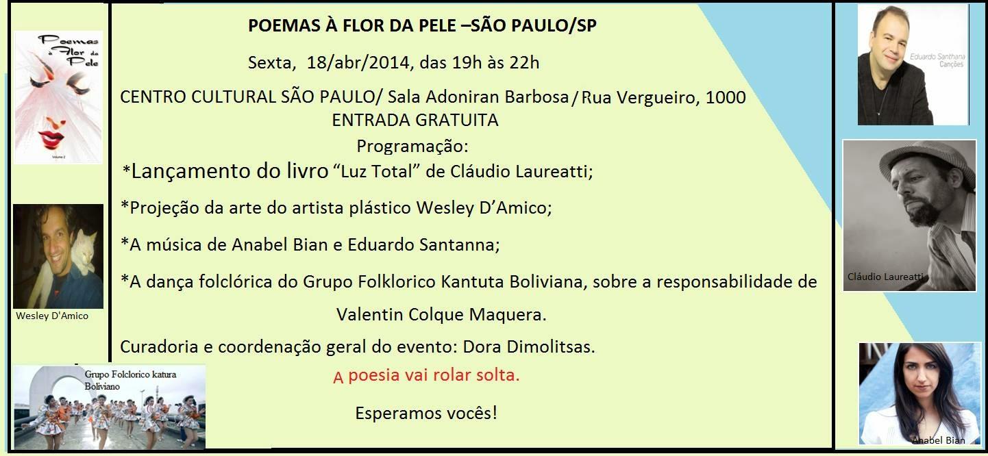 Centro Cultural Vergueiro, Sarau Poemas à Flor da Pele e lançamento do livro Luz total