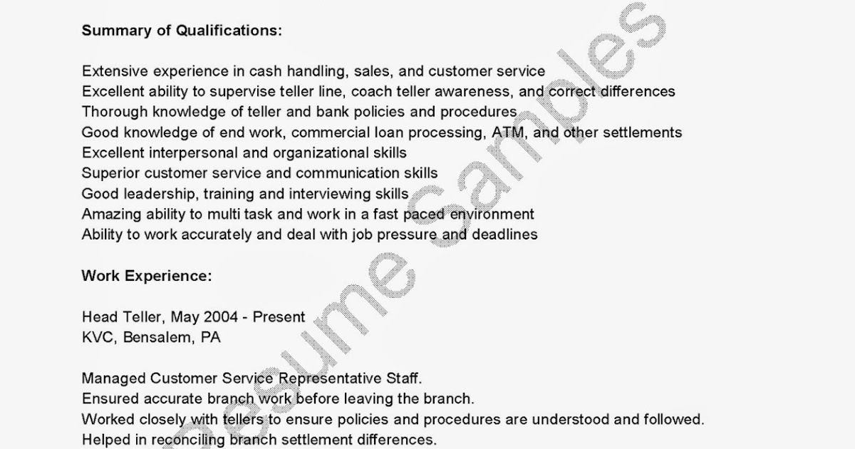 resume samples  head teller resume sample