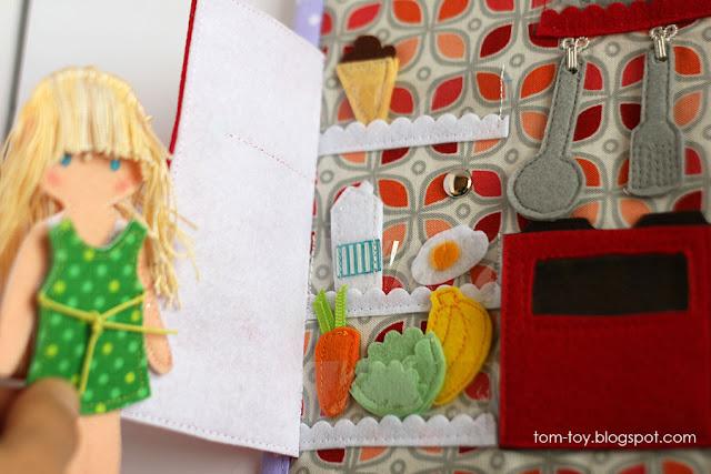 Dollhouse busy book, personalized quiet book for a girl Развивающая книжка кукольный домик