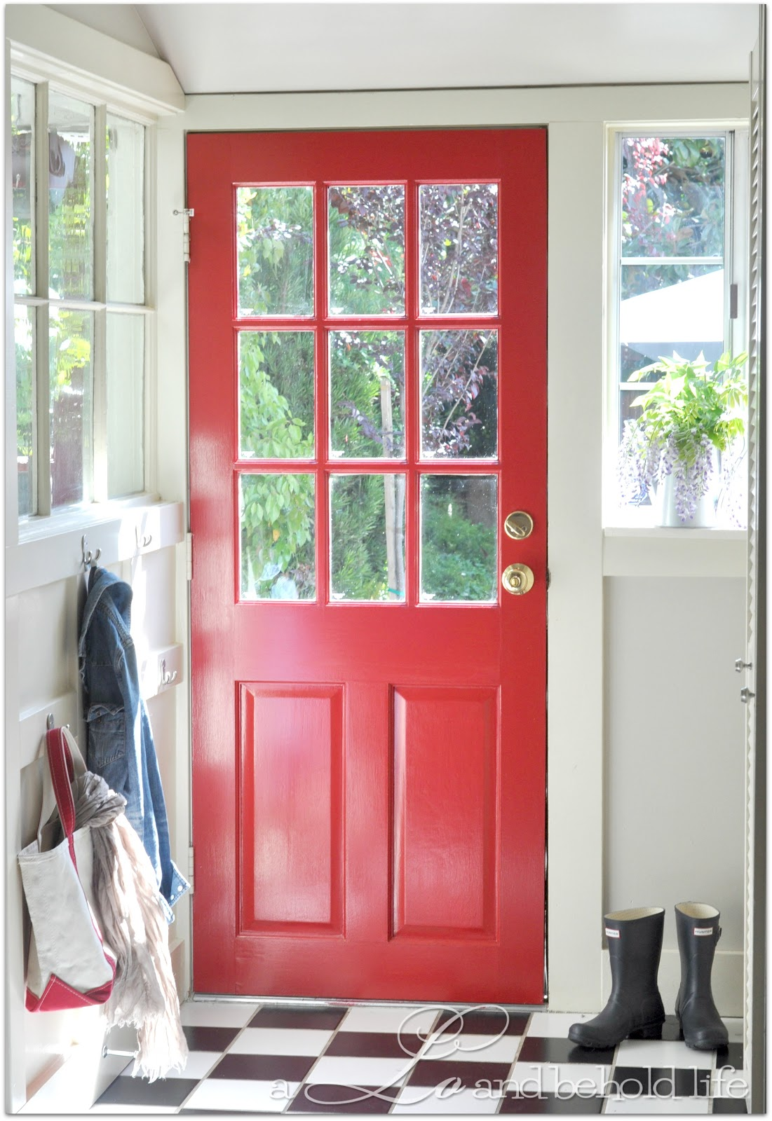 Flamenco red kitchen door a lo and behold life for Kitchen doors