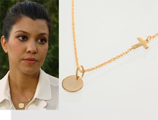 kourtney kardashian monogram initial gold charm on sideways cross chain necklace