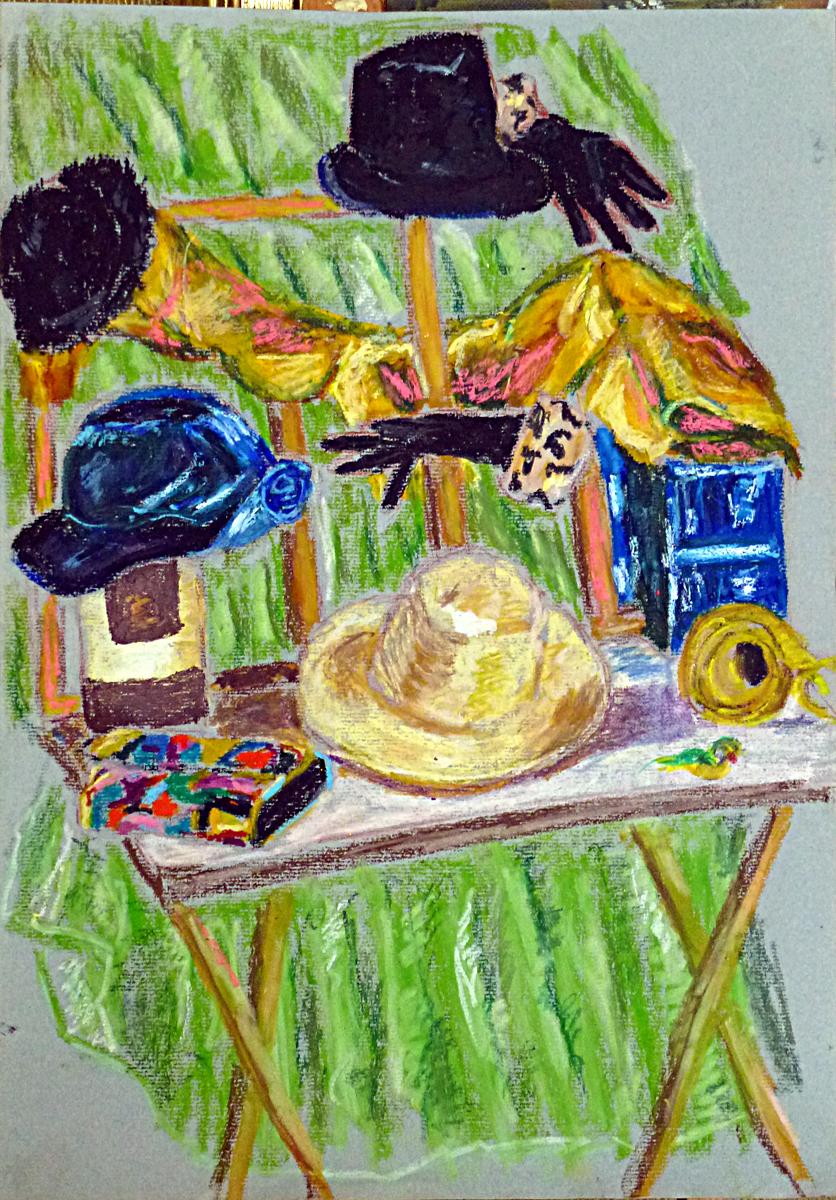 Art de vivre la peinture de peintrefiguratif croquis de chapeaux au pastel gras atelier for Peinture pastel gras