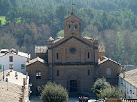 Detall de la façana de l'església de la Colònia de l'Ametlla de Merola