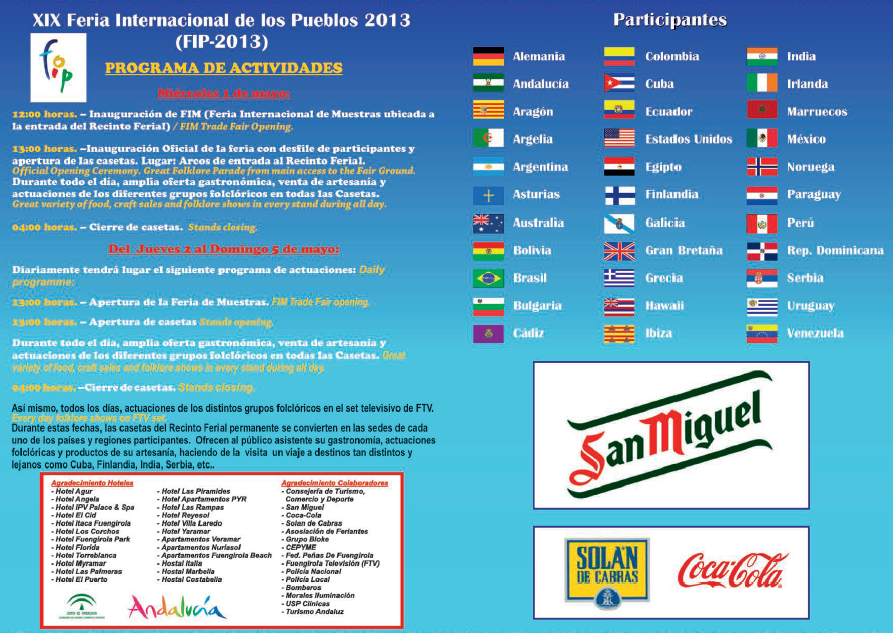 Programa XIX Feria Internacional de los Pueblos 2013, Fuengirola