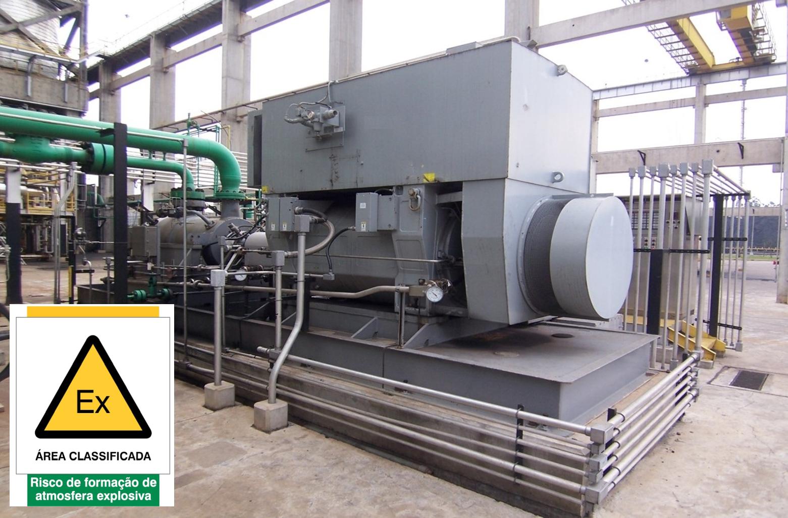 """Motor pressurizado Ex """"pzc"""" EPL Gc, com tensão nominal de 13.8 kV, instalado em Zona 2"""