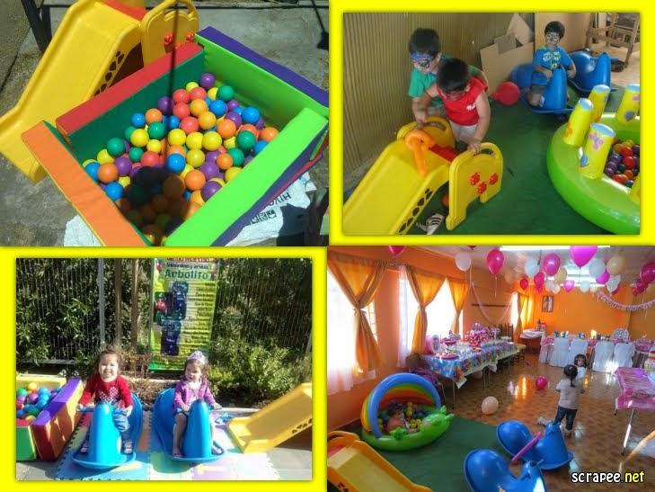 PLAZA DE JUEGOS: una piscina con pelotas,2 balancines , un resbalin , mesa y 2 sillas.