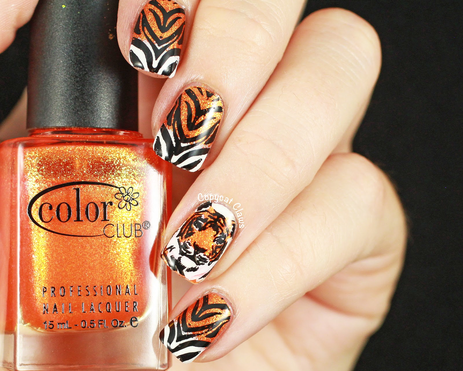 Copycat Claws Sunday Stamping Tiger Nails