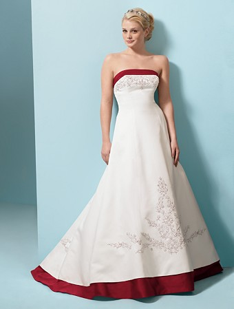 Beautiful Bodice Strapless Lace Embroidery White and Red Wedding Dress