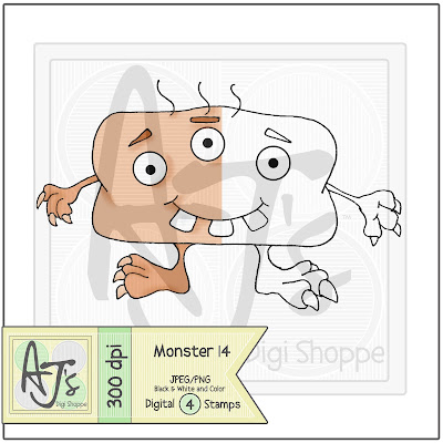 Monster 14 Black/White and Color Digital Stamp