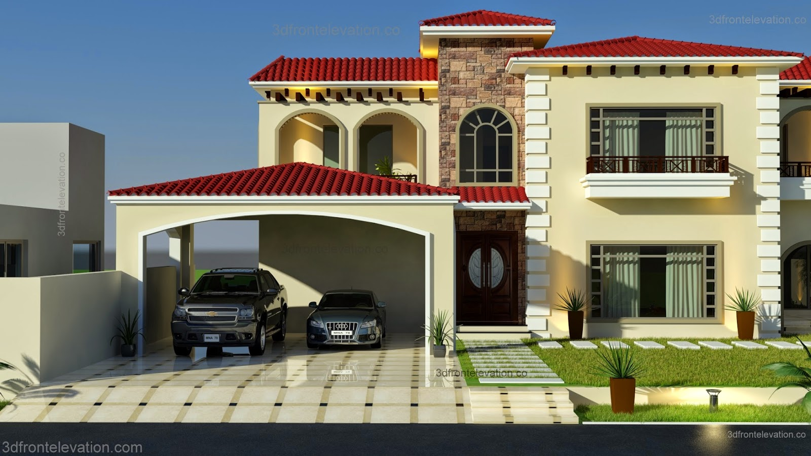 3d front beautiful mediterranean house for Home garden design in pakistan