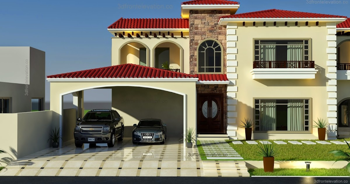 3d front beautiful mediterranean house for Canal front house plans