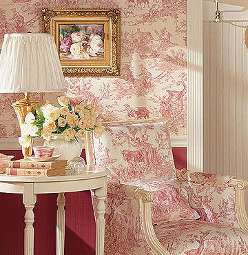 Good An English Interior With A Subtle Use Of Red Toile. I Love It On The  Folding Screen!