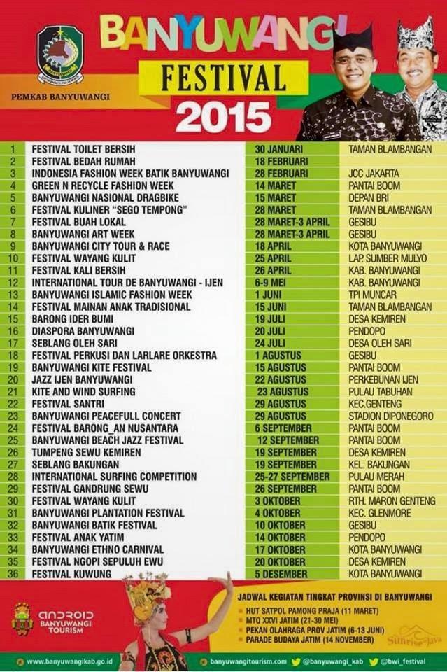 Jadwal/agenda Banyuwangi Festival (F-Fest) 2015.