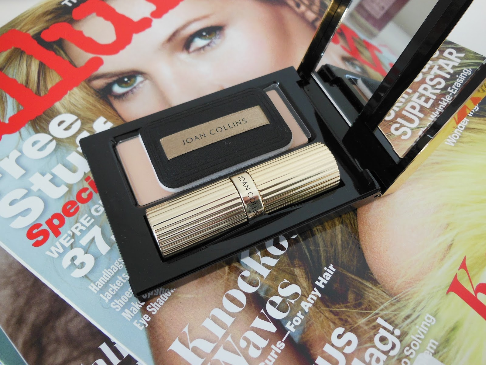 Joan Collins timeless beauty makeup paparazzi lip and powder duo