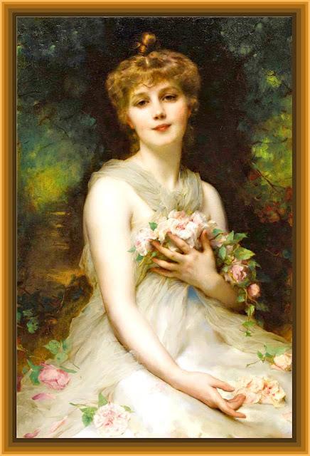 dama vintage con flores para scrapbooking