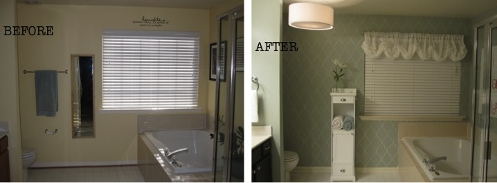 Jones Design Company Wall Stencil : Remodelaholic stenciled master bathroom reveal