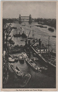 vintage postcard of the pool of london