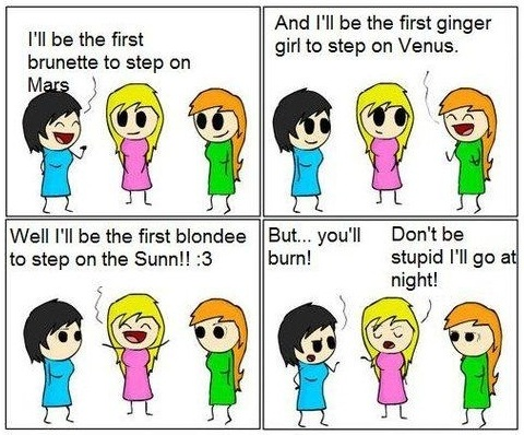 Brunette redhead and blonde jokes