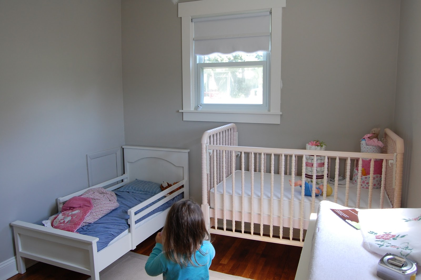 Vintage violet style furniture arranging for our shared for Baby and toddler sharing bedroom ideas