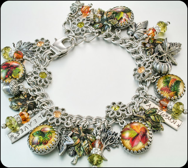 havest charm bracelet, autumn bracelet, fall leaves,