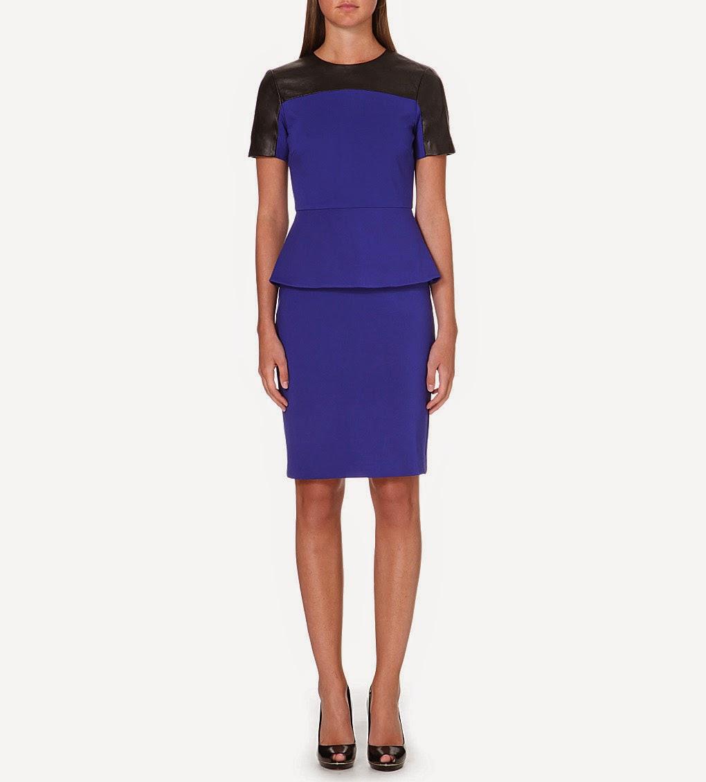 ted baker blue dress, blue peplum dress, leather peplum dress,