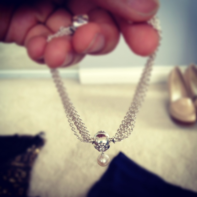 Pandora Pearl of Wisdom clip charm, pearl charm, pandora charm on bracelet, silver jewelery, Pandora single charm clip bracelet