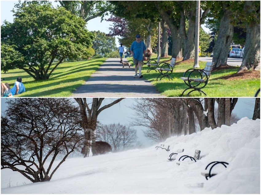 Portland, Maine USA Summer and Winter on the Eastern Prom photo by Corey Templeton. A view from a similar spot in August and in January of 2015.