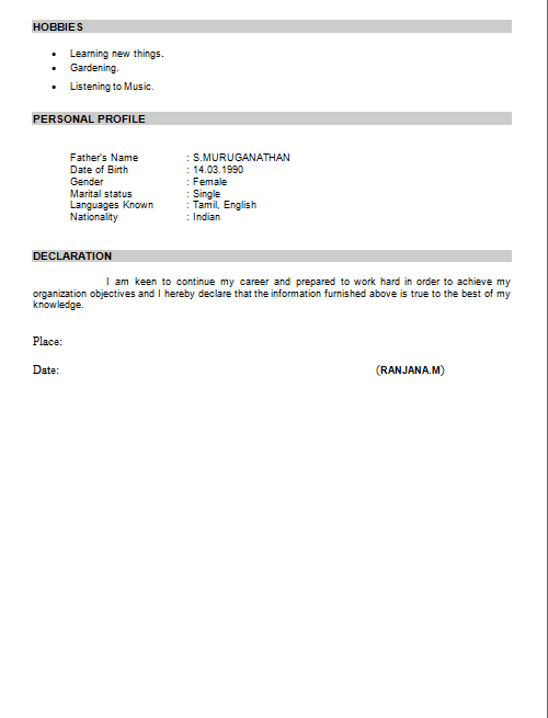 Declaration In Resume Format | Resume Format