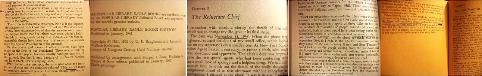 "From JFK Secret Service Chief U.E. Baughman's PRE-ASSASSINATION book ""Secret Service Chief"":"