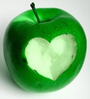 corazón de manzana
