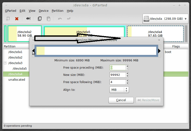 gparted resizing partition