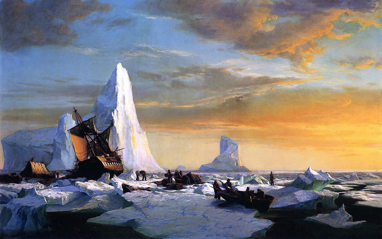 Sailing Ship Frozen In Ice Oil Painting
