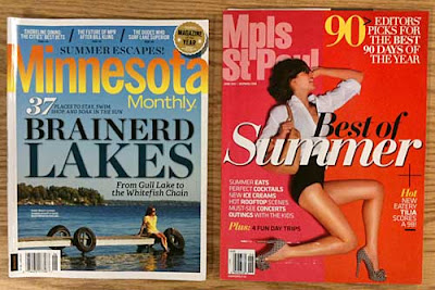 Covers of Minnesota Monthly and Mpls St Paul magazines