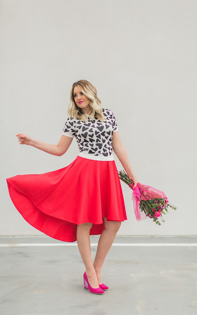 Valentine's Day Outfit, Red Skirt, Heart Sweater